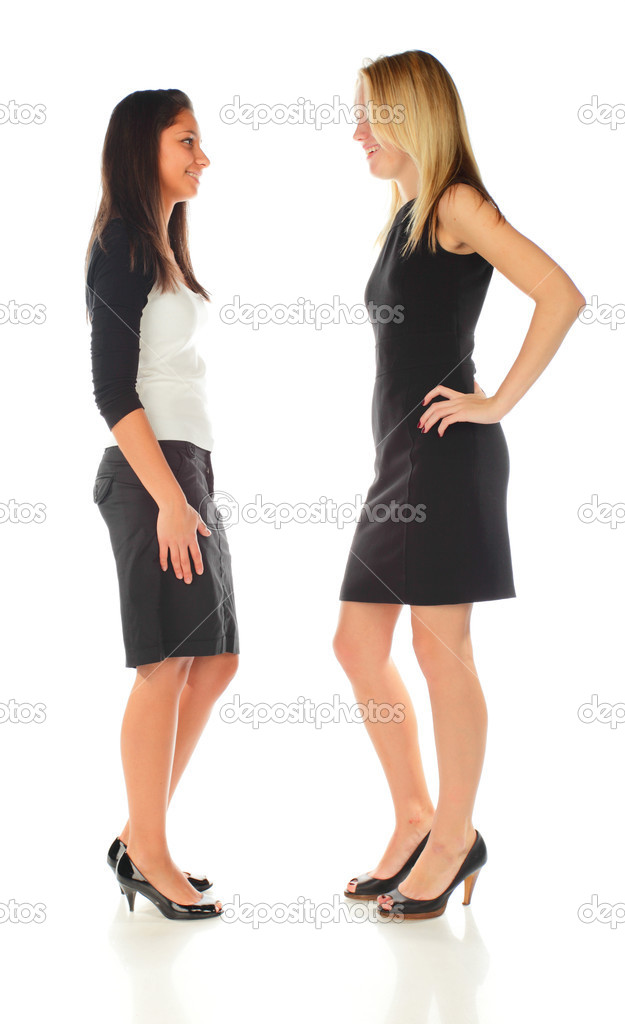 Two girls on a white background  Stock Photo #2480547
