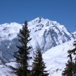 Panoramic view on Alps winter mountains — Stok fotoğraf