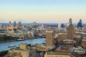 London city in dusk bird-eye view — Stock Photo