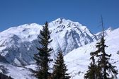 Panoramic view on Alps winter mountains — Stock Photo