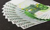 Pile of 100 euro banknotes — Stock Photo
