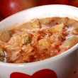 Red cabbage soup (sauerkraut) - Stock Photo