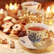 Hot tea with sweet cookies — Stock Photo