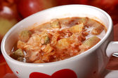 Red cabbage soup (sauerkraut) — Stock Photo