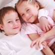 Kids in bed — Stock Photo