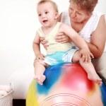 Playing with gymnastic ball — Stock Photo