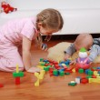 Adorable kids playing with blocks — Foto Stock