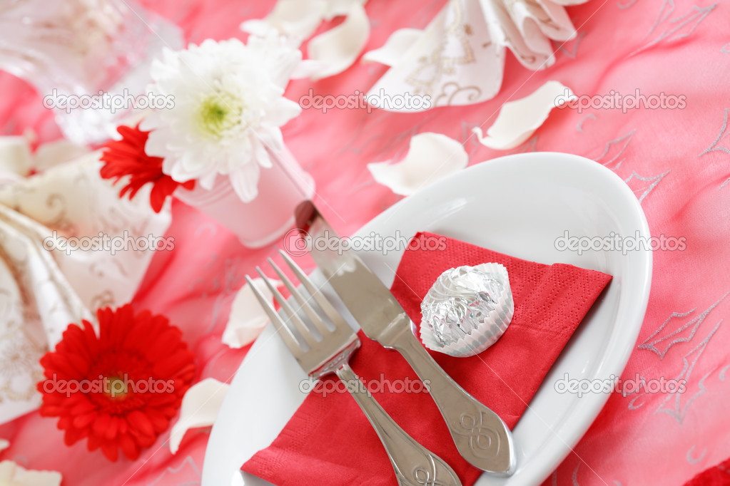 Romantic table setting for Valentine, birthday or other event — Foto de Stock   #2230022
