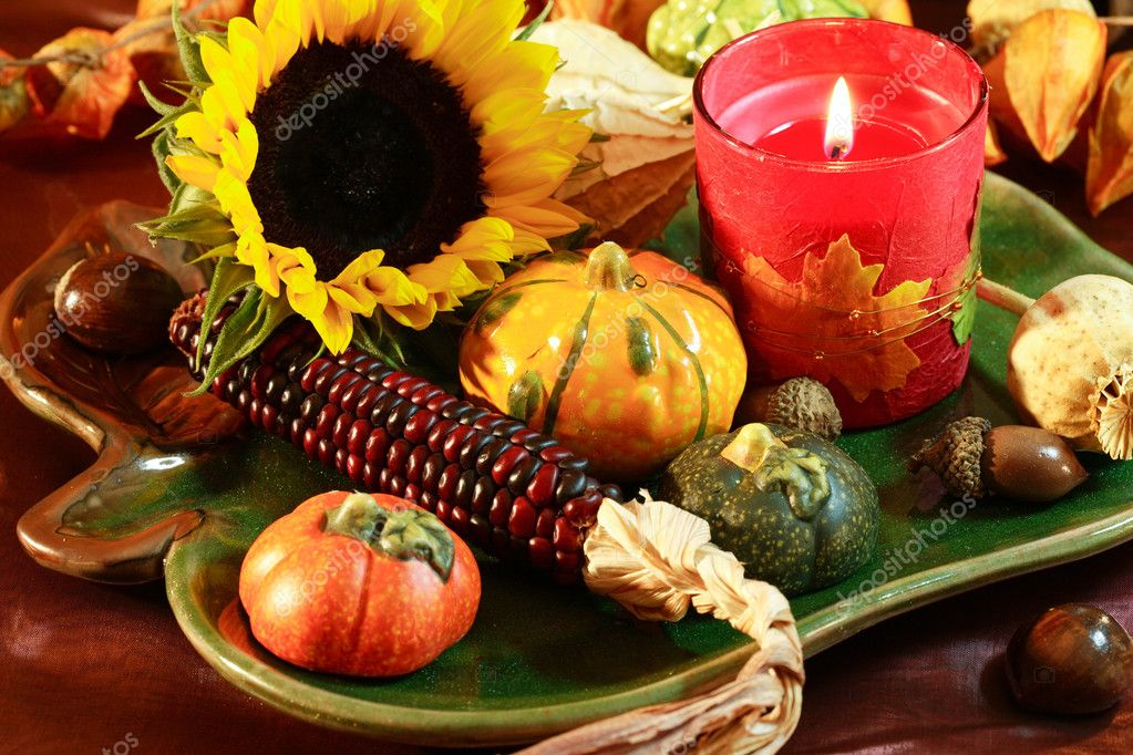 Still life and harvest or table decoration for Thanksgiving — Stock Photo #2230543