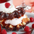 Waffle dessert with yogurt and fruits - Stock Photo