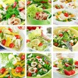 Healthy food collage — Stockfoto
