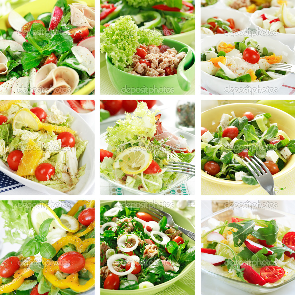 Different delicious vegetable and fruit salads  Stock Photo #2297766