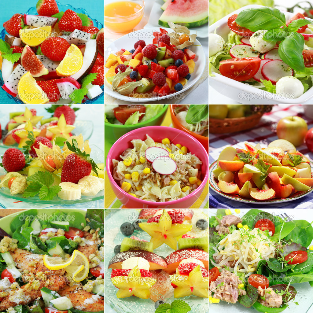 Different delicious vegetable and fruit salads — Stock Photo #2297809