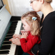 Mother and daughter play piano — Stock Photo