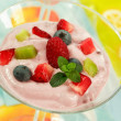 Yogurt with fresh fruits — Stock Photo