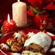 Christmas cake and cookies — Stock Photo