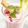 Strawberry milkshake with fruits — Stock Photo