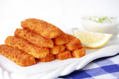 Fried fish sticks with remoulade — Stock Photo