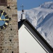 Detail view of a clock on a church tower — Foto Stock