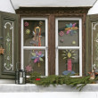 Window with christmas decoration — Stock Photo