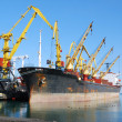 Stock Photo: Cargo ship in port on loading