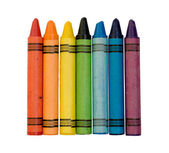 Rainbow of colored crayons — Stock Photo