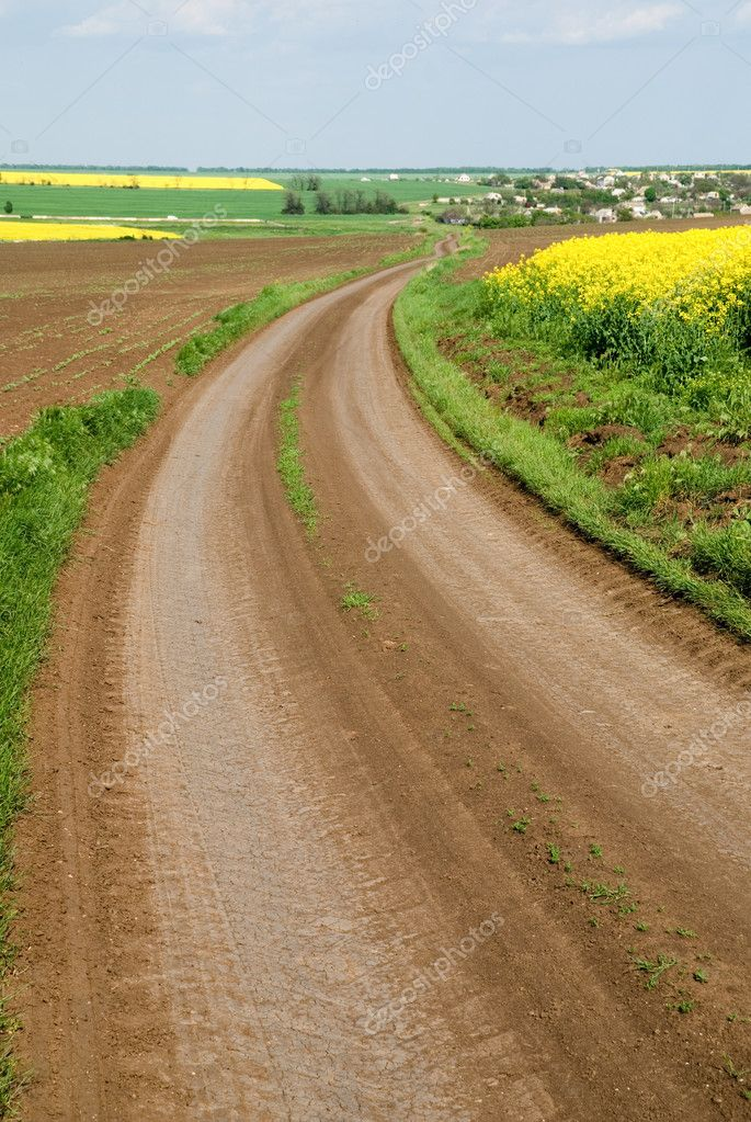 Wavy dirt road leading along plough-land and colza field in bloom to a small village  Stock Photo #2473669