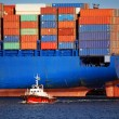 Giant Container Ship and Small Tugboat - Stockfoto
