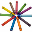 Royalty-Free Stock Photo: Circle of colored crayons