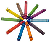Circle of colored crayons — Stock Photo