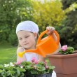 Stock Photo: Young girl watering flowers