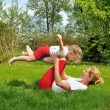 Mother and daughter - training — Stock Photo