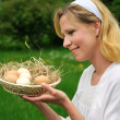 Royalty-Free Stock Photo: Young woman and Easter eggs