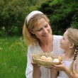 Stock Photo: Mother and daughter having Easter time