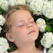 Little girl laying in flowers - snowball — Stock Photo