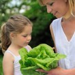 Young mother and daughter with lettuce — Stock Photo