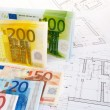 EURO money and plans — Stock Photo