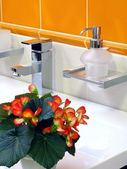 Interior of bathroom - basin and faucet — Stock Photo
