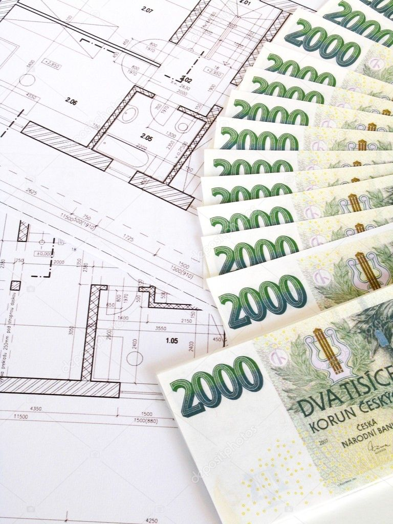 Money - Czech crowns and plans — Stock Photo #2363840