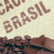 Cacao beans and hessian — Stock Photo