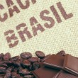 Stock Photo: Cacao beans and hessian