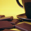 Royalty-Free Stock Photo: Bar of chocolate and hot chocolate