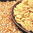 Corn seeds and corn flakes - Stock Photo