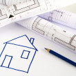 Architectural sketch of house plan — Stock Photo