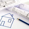 Stock Photo: Architectural sketch of house plan