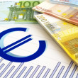 EURO money and graph - business report — Stok fotoğraf