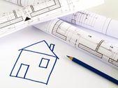 Architektonické skici konceptu domu — Stock fotografie