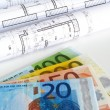 Stock Photo: EURO money and plans