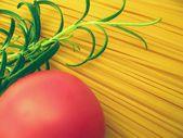 Spaghetti, tomato and rosemary - detail — Stock Photo