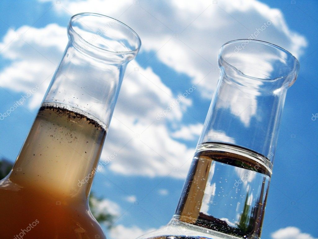 Carafe of clean and dirty water stock photo brozova - Tratamiento del agua ...